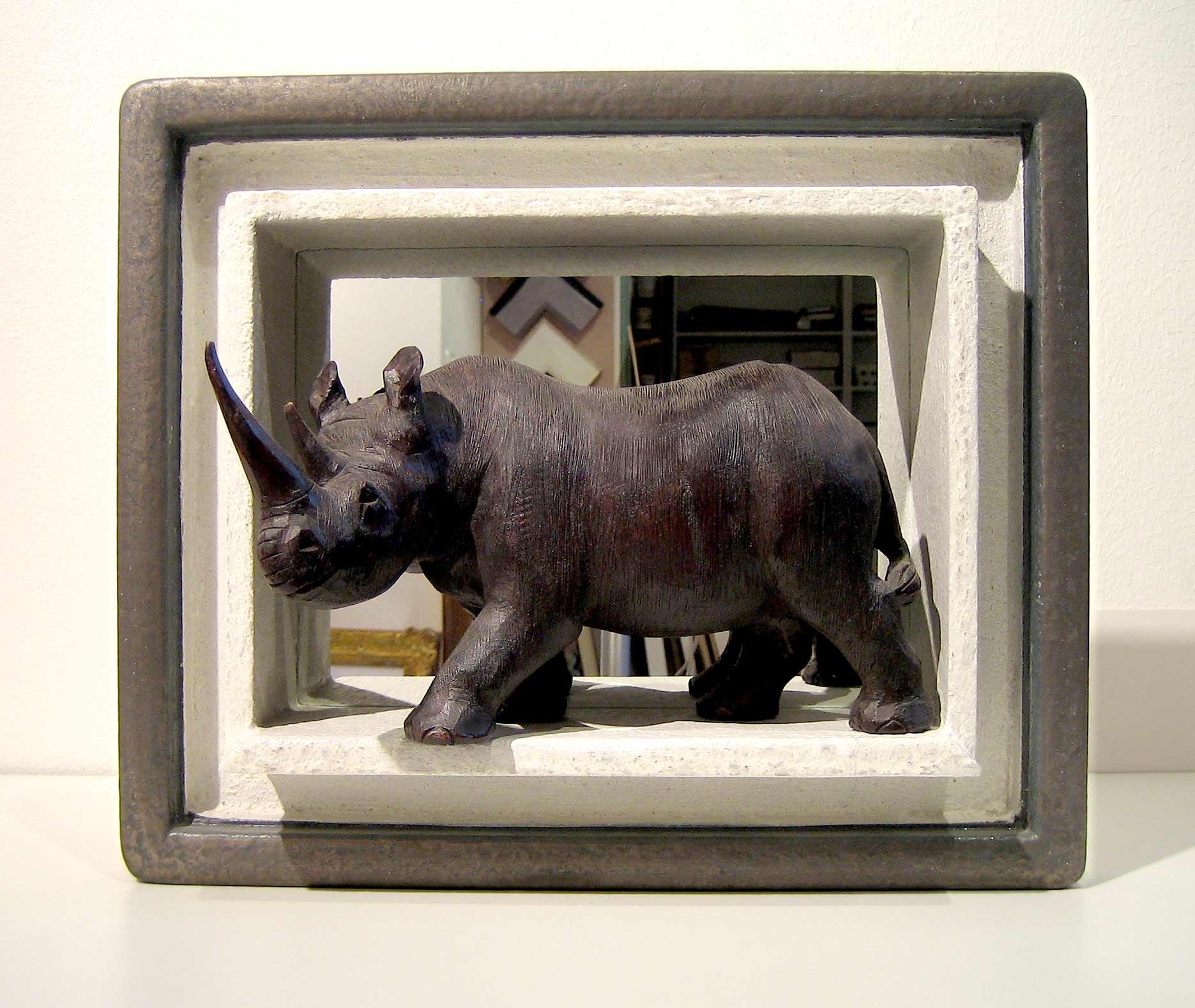 Objektrahmen - Nashorn in Obektrahmen mit Spiegel