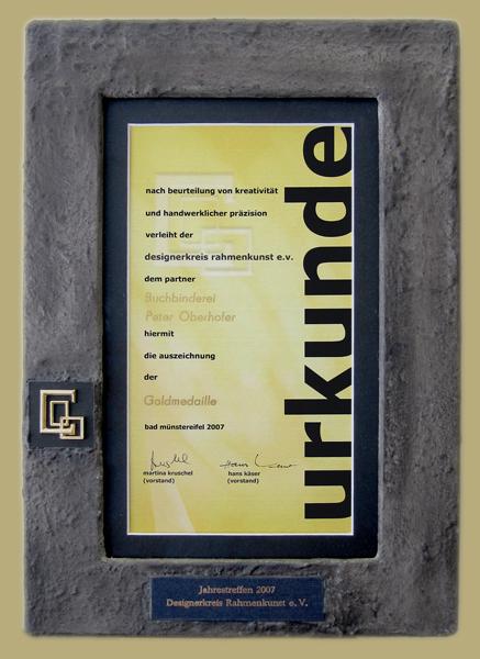 Urkundenrahmen - Goldmedaille Designerkreis Rahmenkunst