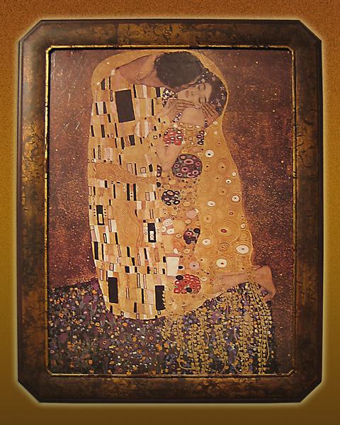 Gerahmte Klassiker - G. Klimt - Der Kuss