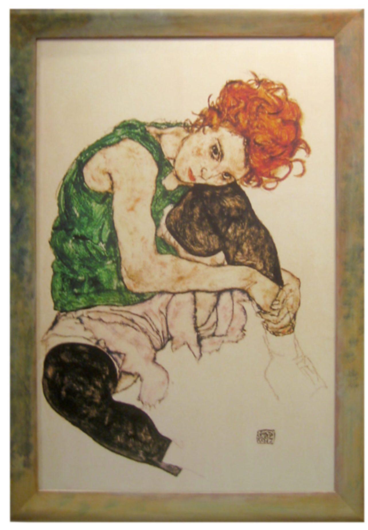Farbrahmen Egon Schiele  - Sitzendes Mädchen ...