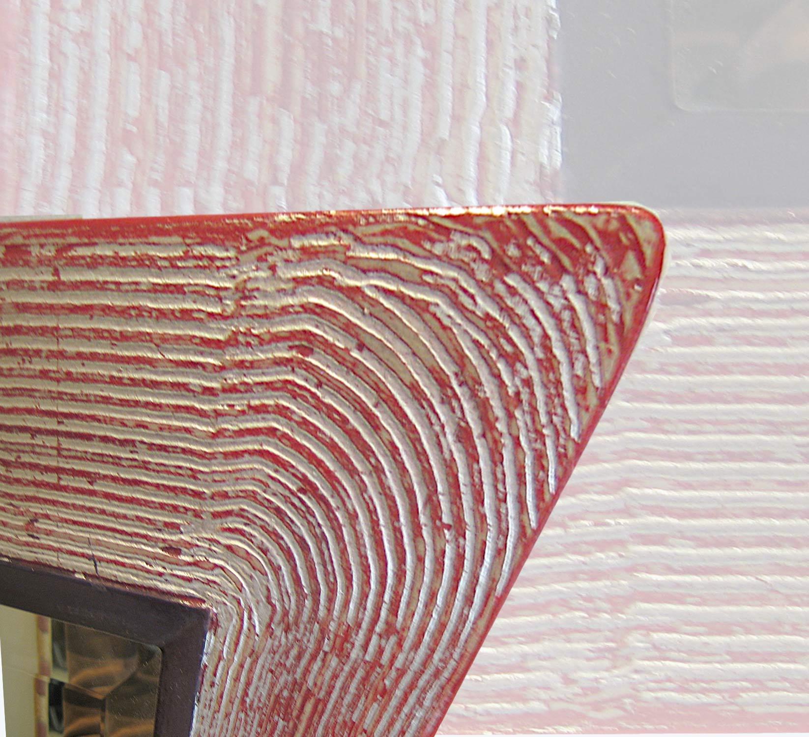 Ausschnitt - Spiegelrahmen ` wave ´ rot