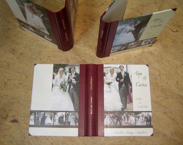 Hochzeitsfotoalbum in Leder gebunden