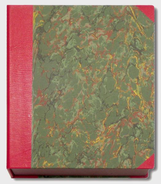 Buchkassette aus Leder mit Marmorpapier