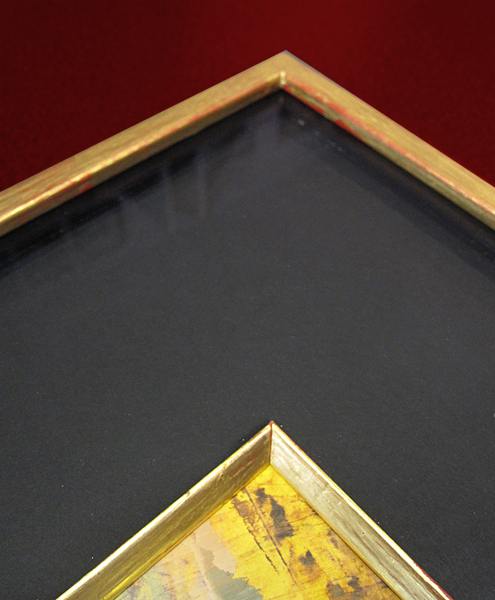 Ausschnitt - Echtgoldrahmen mit schwarzen Passepartout