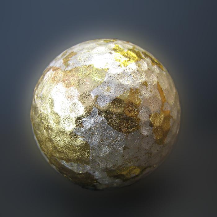 Golfball - handvergoldet - Gold-silber