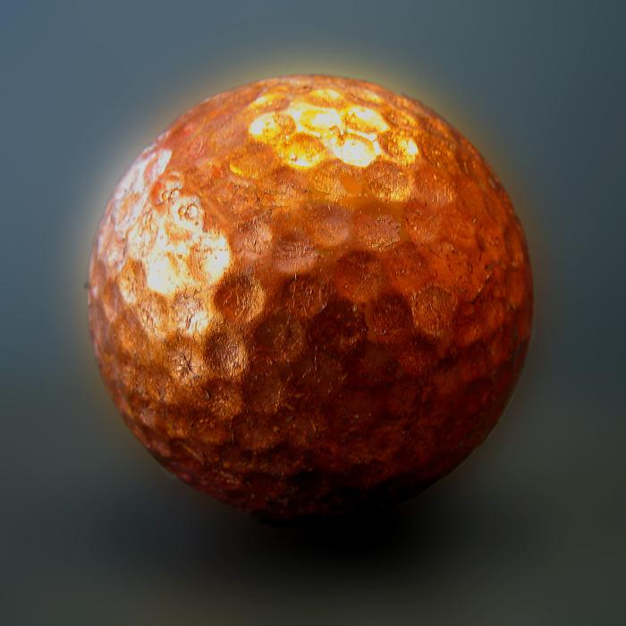 Golfball vergoldet mit Kupfer