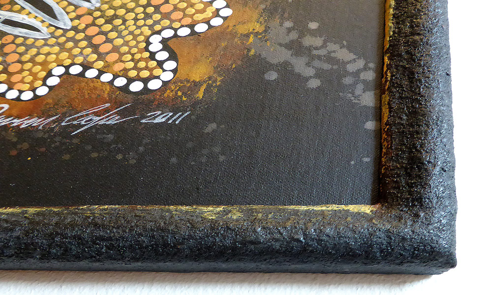 Steinpatinarahmen mit Goldauflage - Ausschnitt