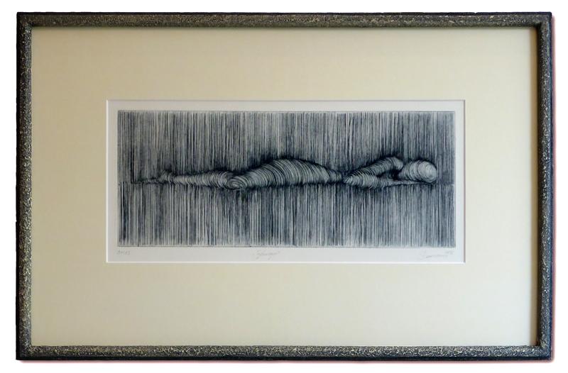 Druckgrafik mit Steinrahmen