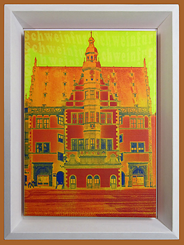 Schattenfugenrahmen DF Schatt 5 weiß mit Leinwandbild - `Rathaus Schweinfurt´