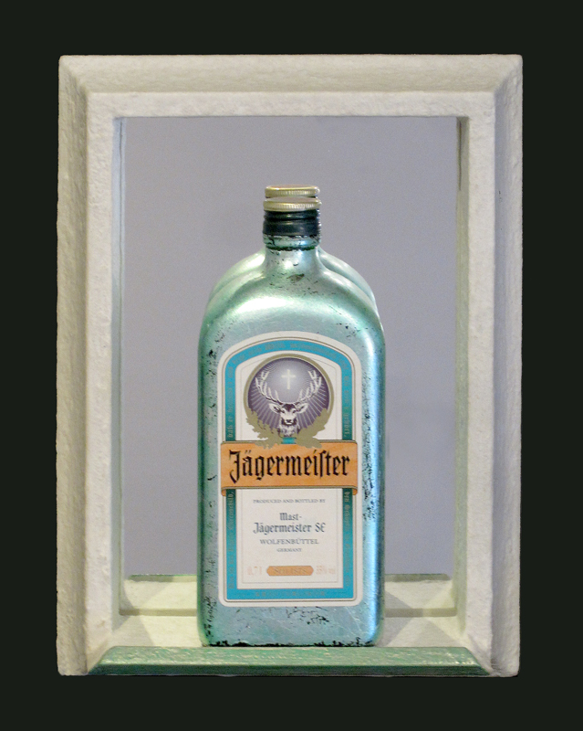 Objektrahmen mit Flasche versilbert