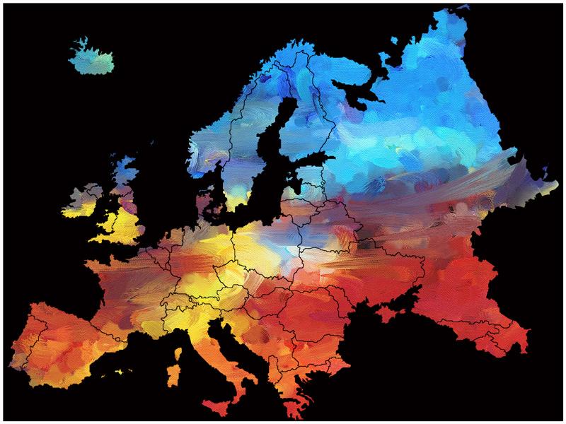 Länderpunkte - Modellrahmen mit Motiven aus Europa