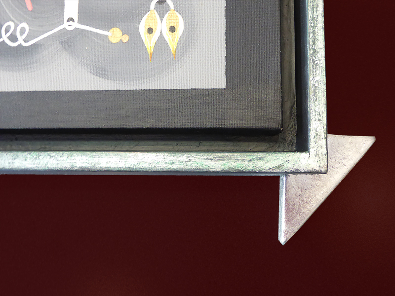 Ausschnitt - Eckverzierung und Kante in Silber