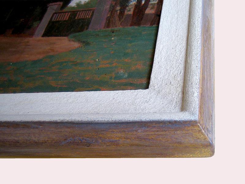 Ausschnitt - Steinpatinarahmen mit Vergoldung aussen