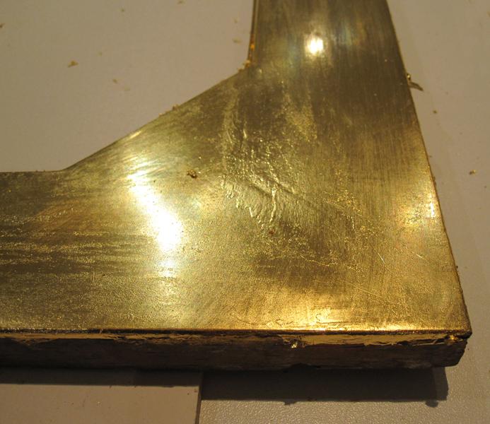 Holztafel vergoldet - Ausschnitt