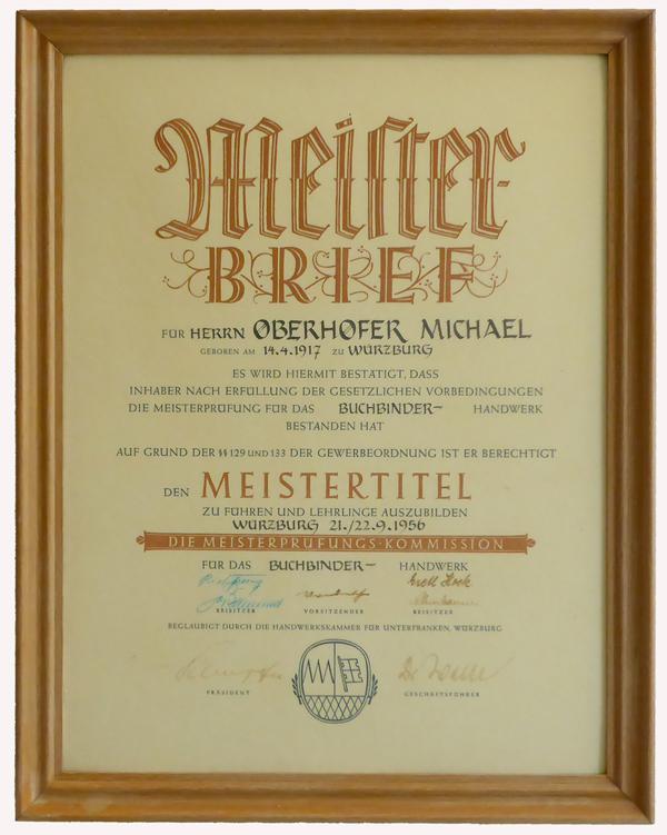 Meisterbrief - Michael Oberhofer