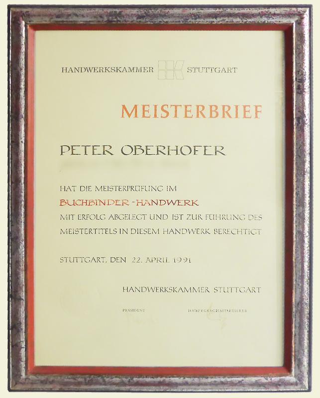 Meisterbrief - Pete rOberhofer