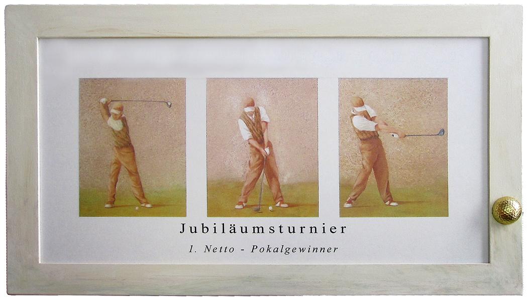 Golfplakat Golfball vergoldet