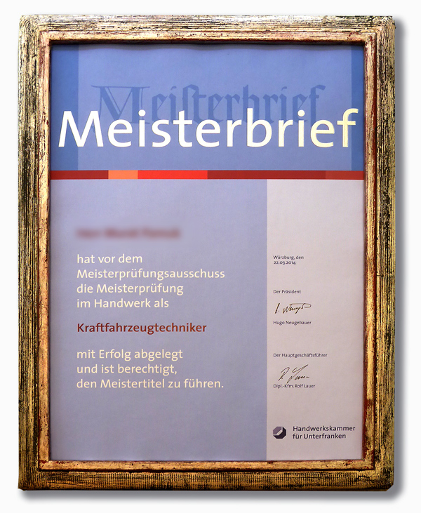Meisterbrief - Rahmen Wave