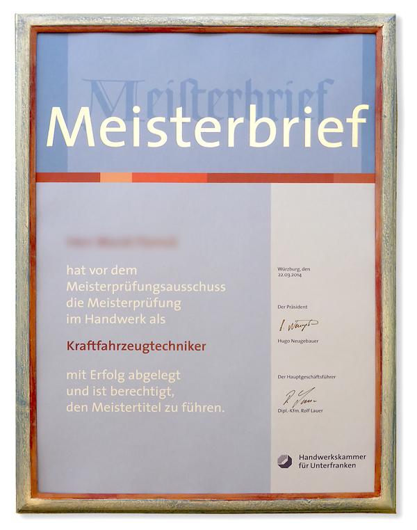 Meisterbrief - Silberrahmen mit roter Kante