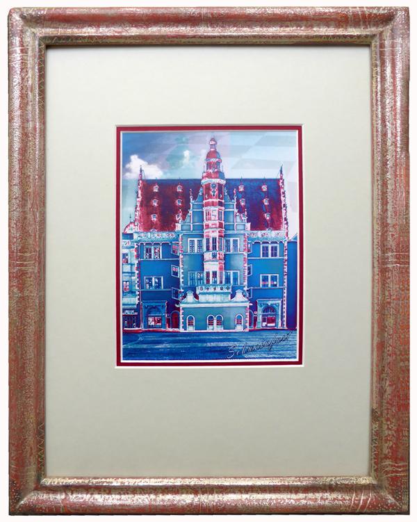 Schweinfurter Rathaus - Pop Art - blau mit Echtgoldrahmen