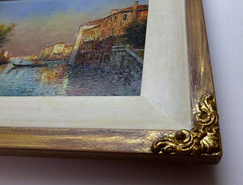Ölgemälde Venedig - Profil Lugauer mit Verzierung - Ausschnitt