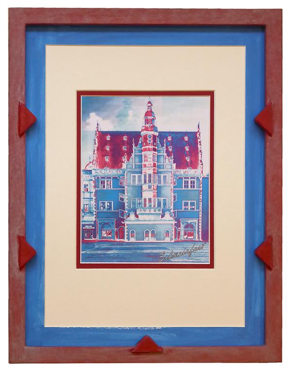 Schweinfurter Rathaus - Pop Art - blau mit Verzierung