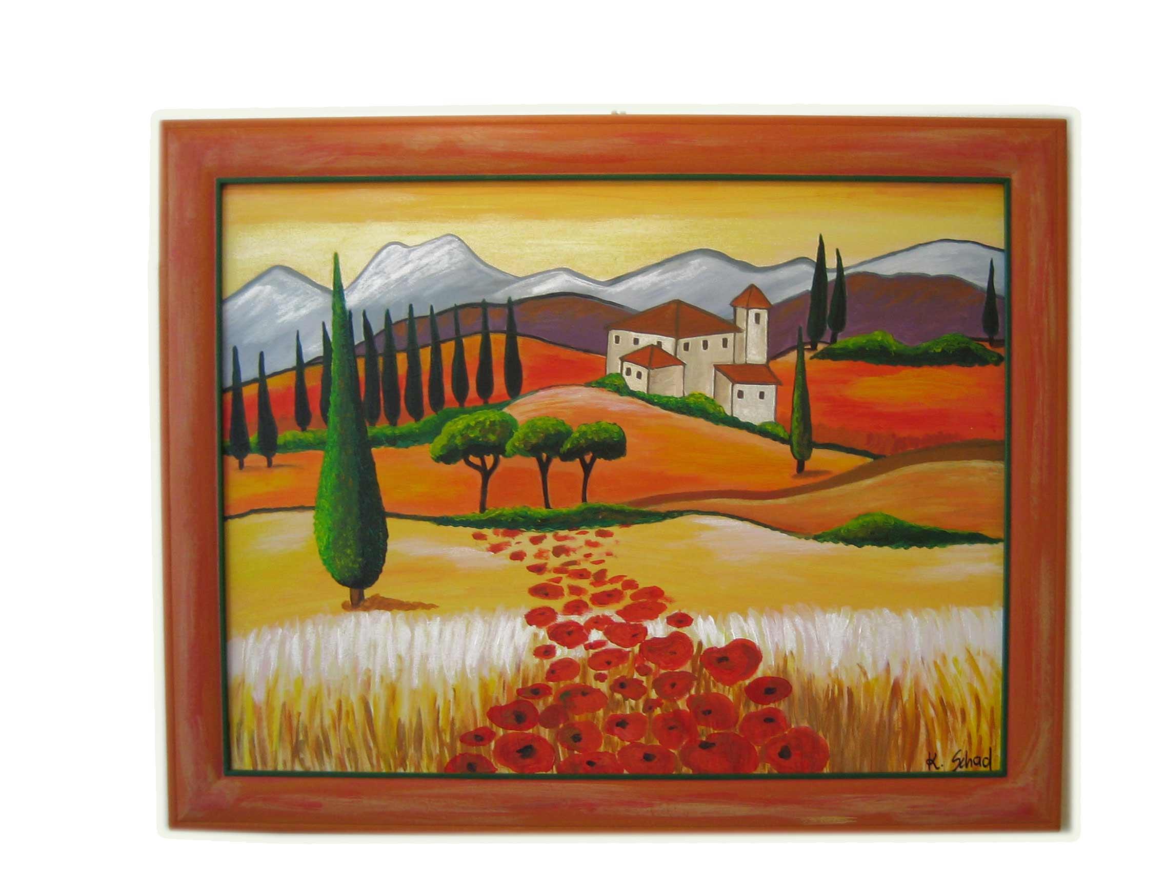 Toskana Bild mit Farbrahmen