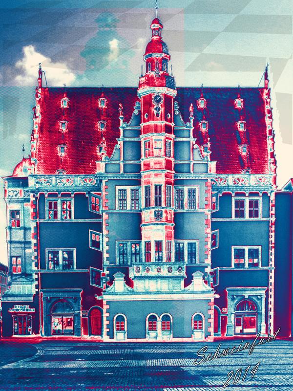 Rathaus_blaurot - Pop Art