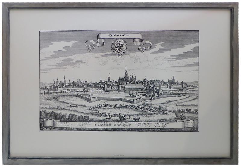 Kunstdruck - Schweinfurt nach M. Merian mit Farbrahmen