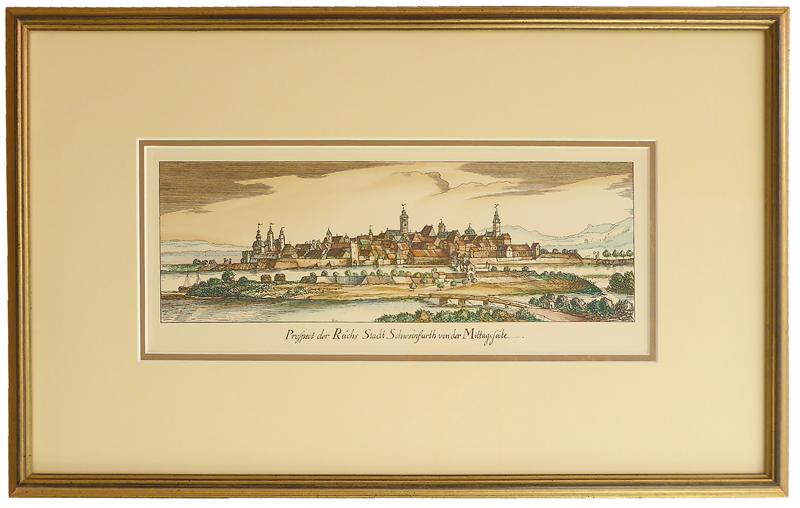 Kunstdruck handkoloriert - Schweinfurt - mit Goldrahmen