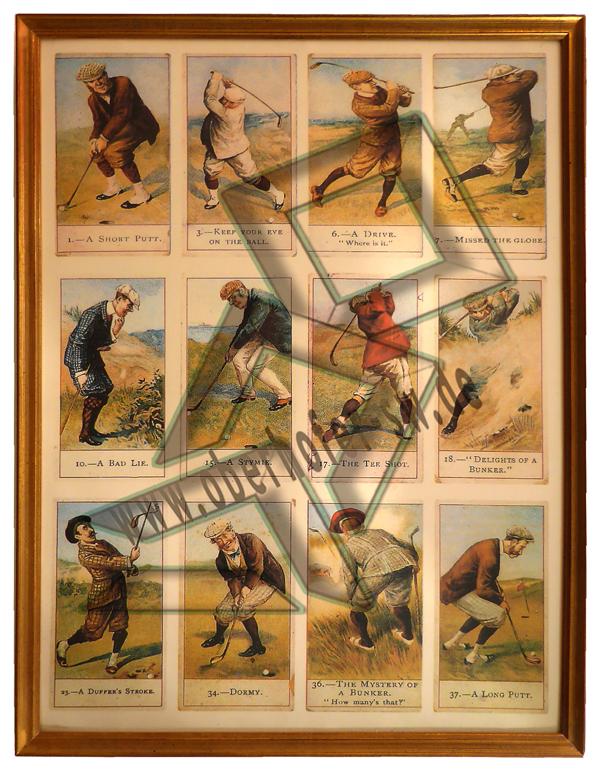 Golfpostkartenbild 30 x 40 cm mit Goldrahmen