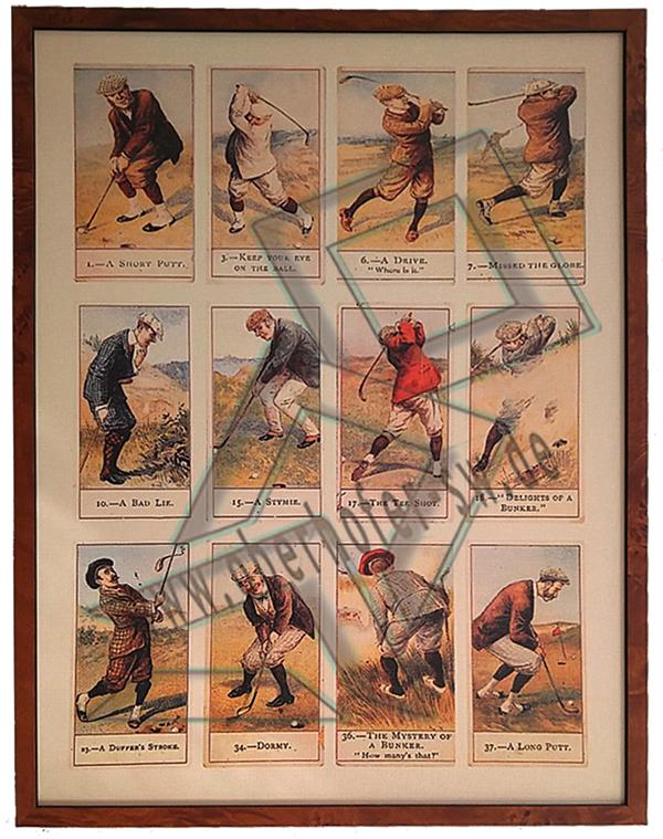 Golfpostkartenbild mit braunem Furnierrahmen
