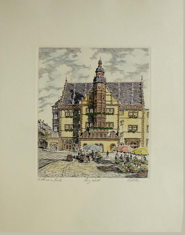Radierung `Schweinfurter Rathaus` - handkoloriert