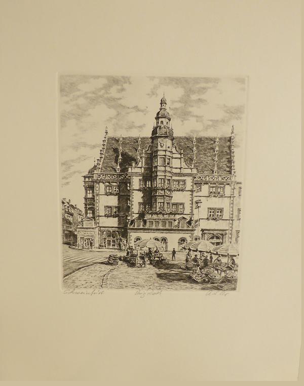 Radierung `Schweinfurter Rathaus` schwarzweiß