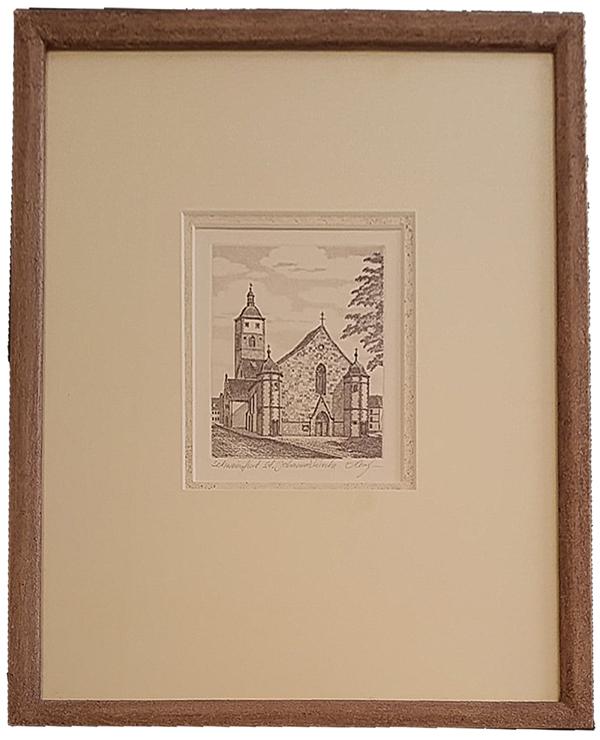 Radierung_Johannis-Kirche mit Steinrahmen