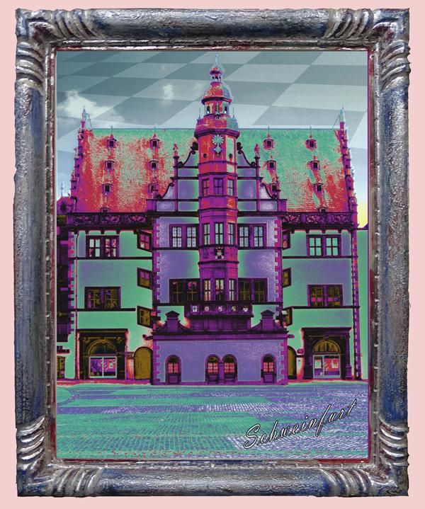Rahmen handgeschnitzt mit Rathaus Schweinfurt
