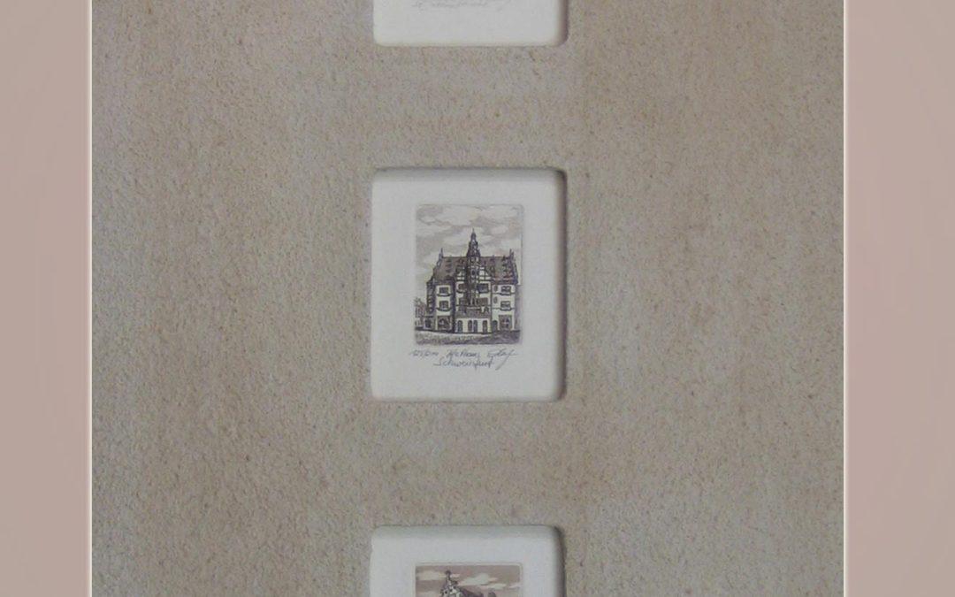 3x Schweinfurter Ansichten klein in Steinpatinrahmen grau